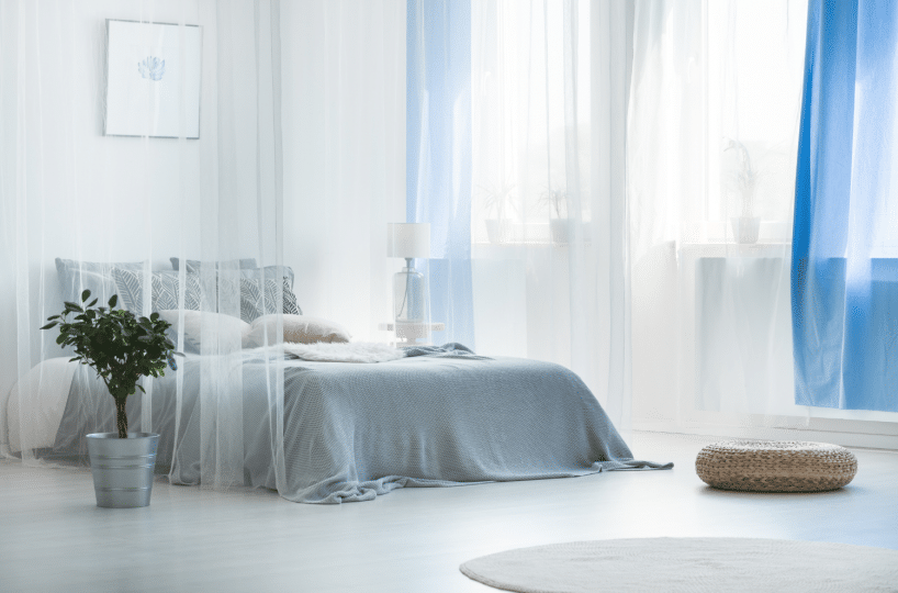 relaxing white and blue bedroom