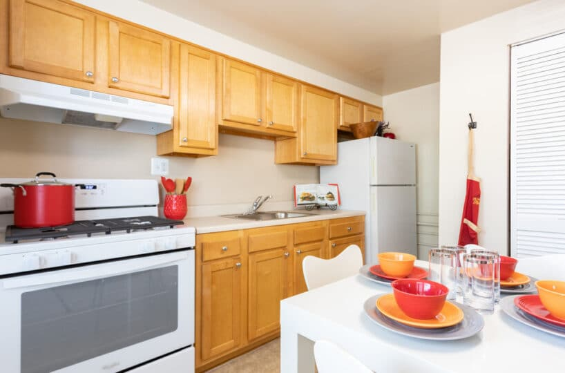 kitchen with full size appliances and table